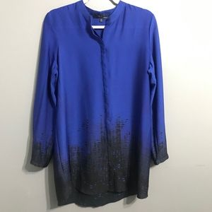 Elie Tahari Cobalt and Black Button Down Blouse M